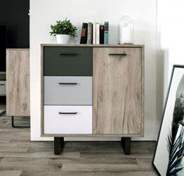Madia Lappo di design con gambe in metallo, 1 anta 3 cassetti, finitura Quercia, Bianca, Grigio e Antracite