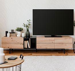 Mobile porta Tv Glesborg con 3 ante e un vano in finitura Rovere e Nero carbone