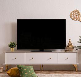 Porta Tv Oslo con 3 ribalte in finitura bianco e oro