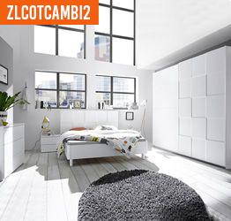 Camera da letto completa moderna in finitura bianco opaco, armadio 220x210