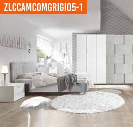 Camera completa con letto pannello imbottito in tessuto e con armadio Miss H.230
