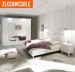 Camera da letto matrimoniale completa in finitura bianco avatar con serigrafie floreali