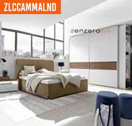 Camera con letto 1 piazza e mezza in finitura Grigio titanio e Ciliegio nordico