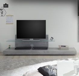 Base Porta TV moderno con mensola in vetro, finitura Beton