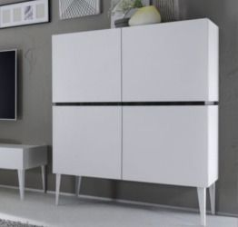 Madia Alta a 4 Ante colore bianco opaco, made in Italy